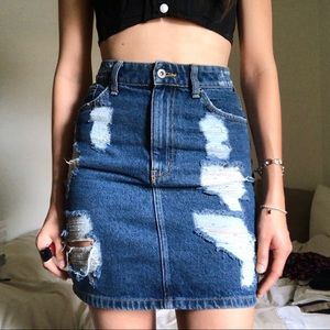 LF Dark Denim Distressed Skirt